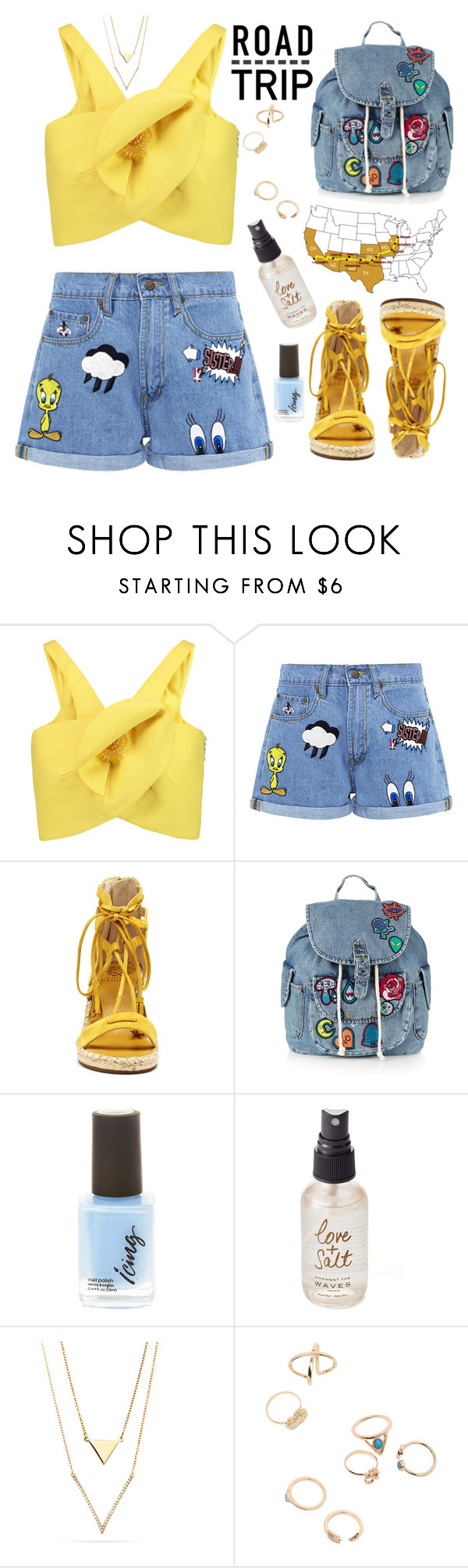 """""""Untitled #2843"""" by deeyanago ❤ liked on Polyvore featuring Delpozo, Paul & Joe Sister, Vince Camuto, Topshop, Olivine and roadtrip"""