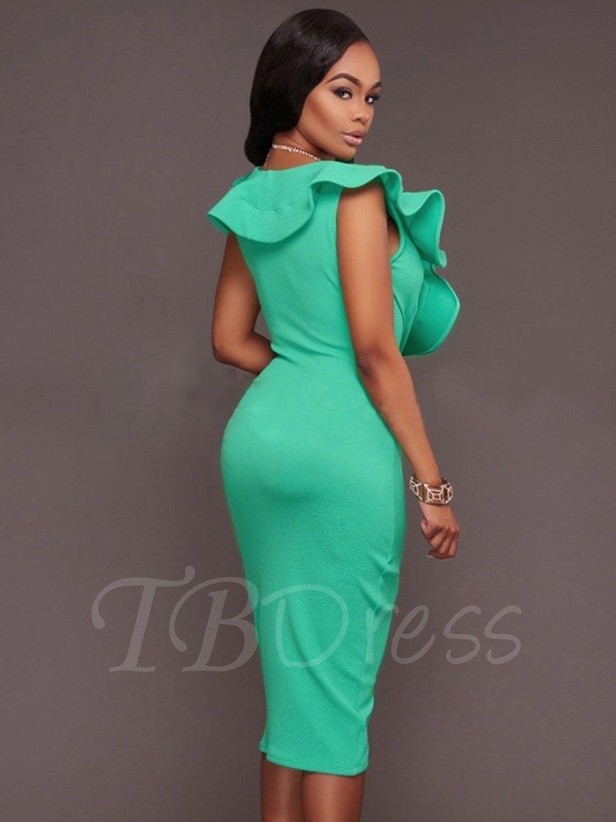 Falbala Ruffle Plain Bodycon Asym Women\'s Party Dress   Ruffles ...