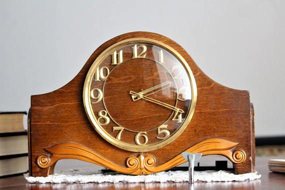 Chiming Clock Wood Clock Mantel Clock Vintage Shelf Large Vintage Clock Vintage Clock Mantel Clocks
