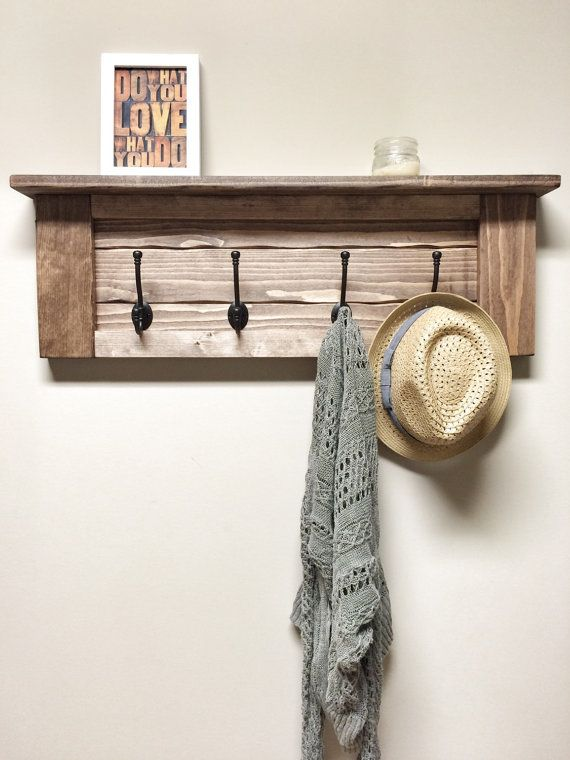 Rustic Wooden Entryway Walnut Coat Rack Rustic Wooden Shelf