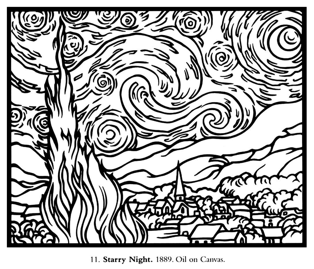 Free Coloring Page Adult Van Gogh Starry Night Large