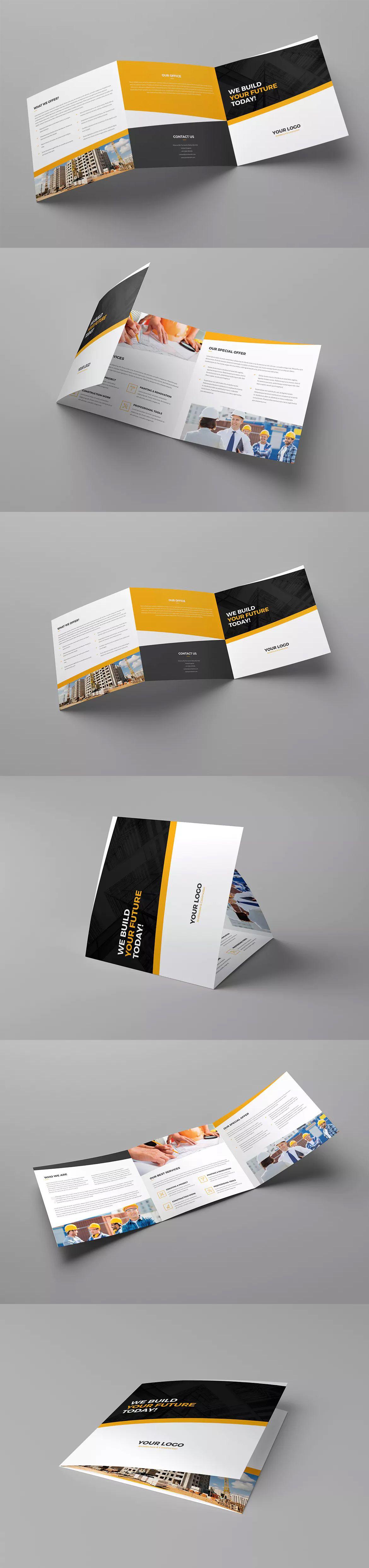 Architecture & Construction Tri Fold Brochure Template PSD