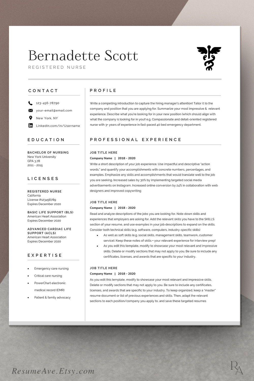 Modern Nurse Resume Template Cv Template For Digital Etsy In 2020 Medical Resume Nursing Resume Template Resume Template