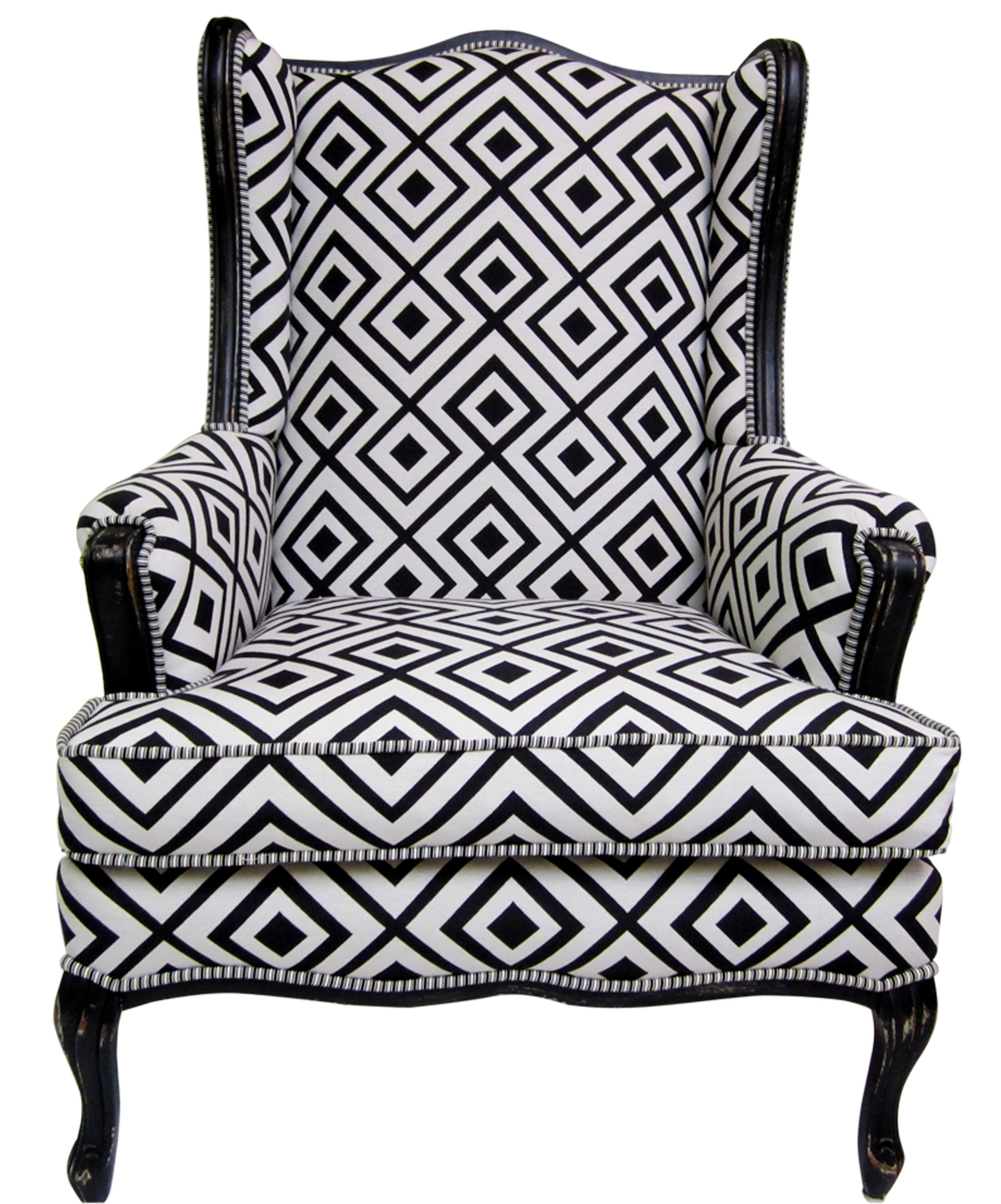Black And White Wing Chairs | Pricing Black And White Geometric Wing Chair  Contemporary Wing Chair