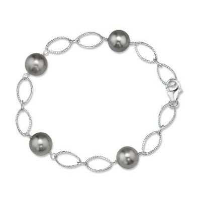 9 0mm Cultured South Sea Tahitian Pearl Station Bracelet