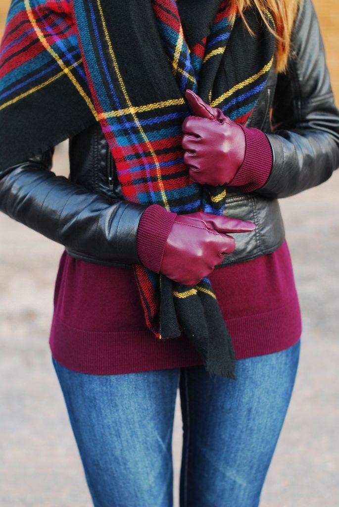 Autumn style: Dark tartan scarf and black biker jacket