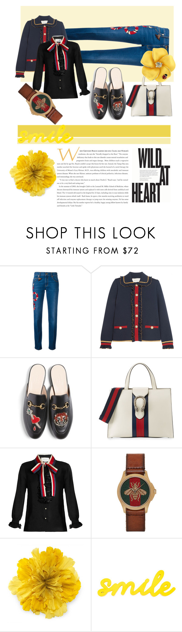 """""""Yellow Gucci"""" by fridaadyb ❤ liked on Polyvore featuring Gucci"""
