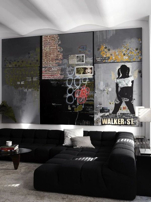 Nice Bachelor Home Decorating Ideas Part - 7: Decorating Ideas: Modern Living Room Design With Balck Upholstered  Sectional Sofa And Graffiti Inspired Art Decor Ideas: Graffiti Wall  Interior Decor ...
