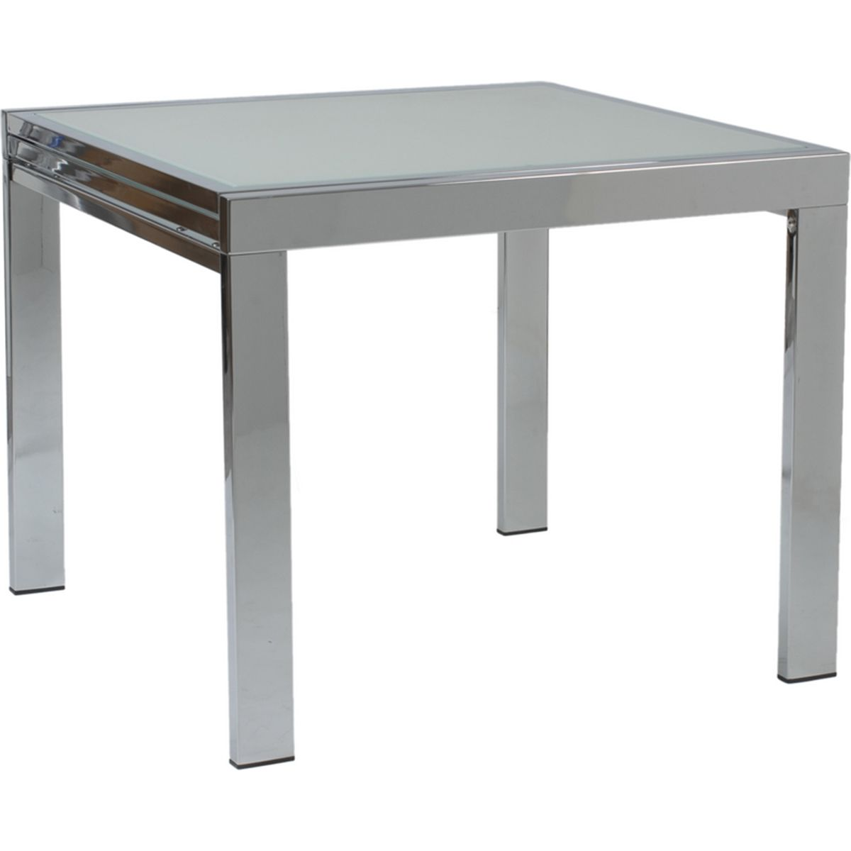 Duo Square Table Chrome Base Frosted Glass
