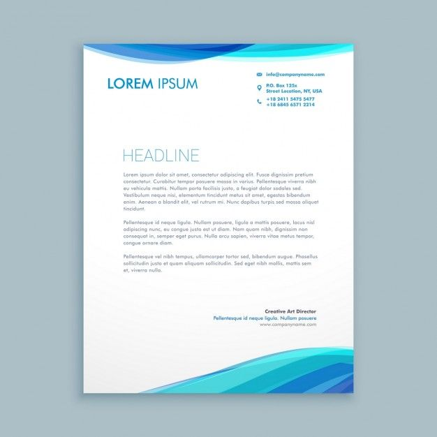 Business Wave Letterhead Design Vector Free Download With Modern