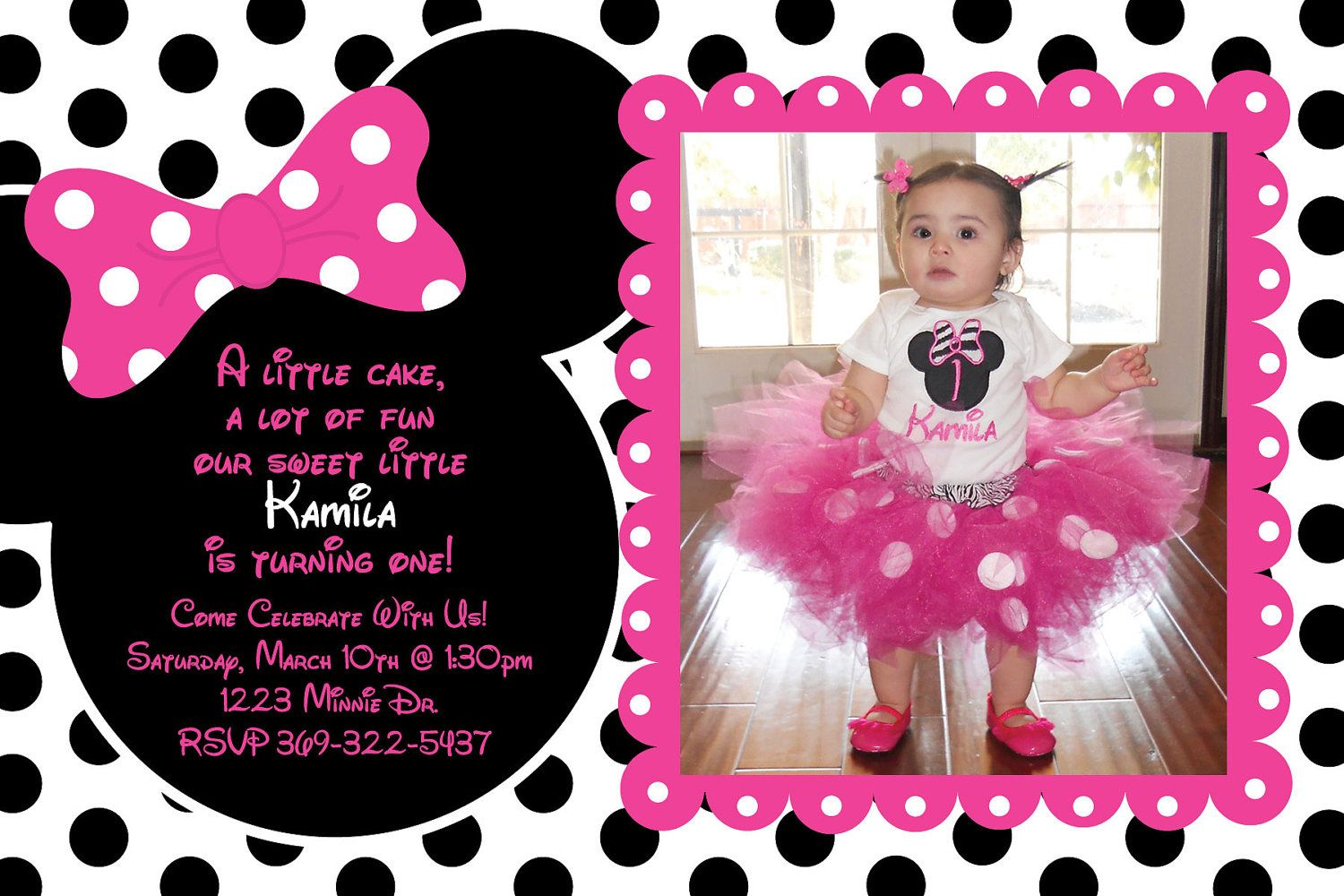 Pink And Black Polka Dot Minnie Mouse Invitation O Pink And White