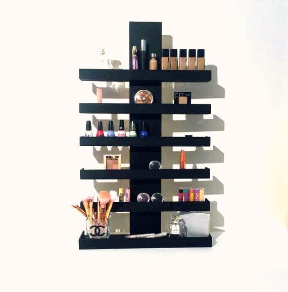 Wall Mounted Makeup Shelf Makeup Organizer Nail Polish Holder Make Up Shelf Monogramed Makeup Organizer Hanging Makeup Shelf Diy Makeup Storage Makeup Storage Wall Makeup Shelves
