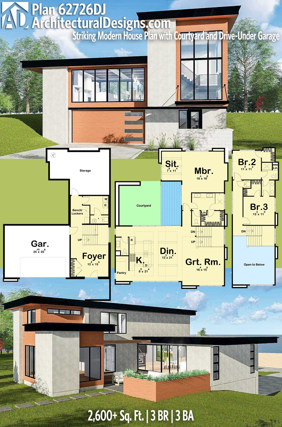 Plan 62726dj Striking Modern House Plan With Courtyard And Drive Under Garage Porch House Plans Courtyard House Plans Modern Farmhouse Plans