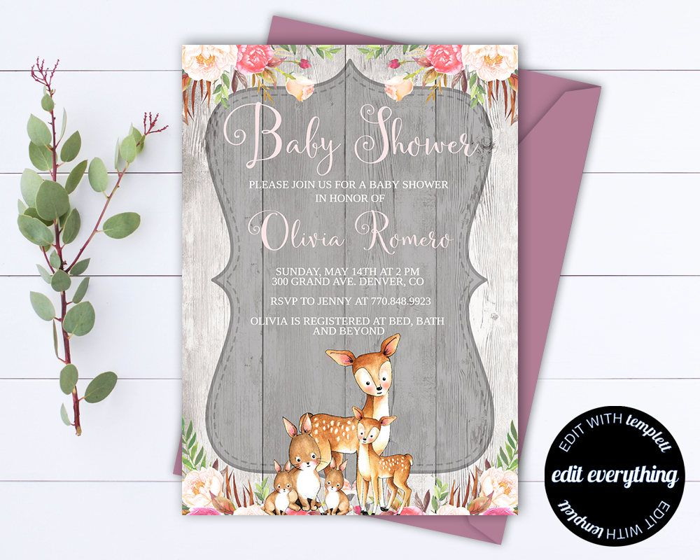 Rustic Baby Shower Invitation Girl Baby Shower Invite Woodland