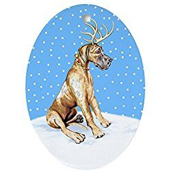 Great Dane Christmas Ornament Deer Brindle Oval Holiday