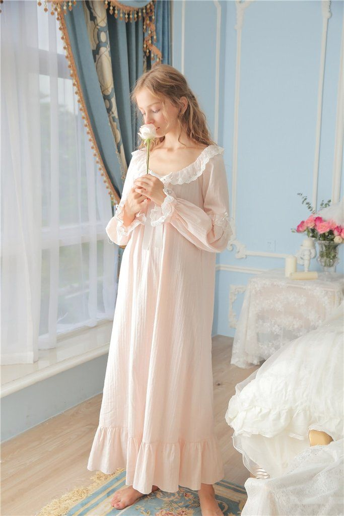 Princessy Heart 100% Cotton Lace Quality Royal Vintage Night Gown Spri –  Prinsty dee8c354c