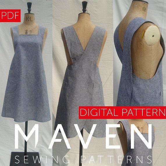 The Maria Apron PDF sewing pattern, Pinafore style apron,cross-back apron,DIGITAL DOWNLOAD,Artisan Apron,Japanese style apron pattern,sewing