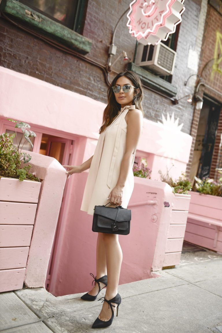 0f6f80616e5 Why not try a blush pink smock dress like Marianna Hewitt to achieve an effortlessly  feminine style this summer  Paired with stilettos and a clutch this ...