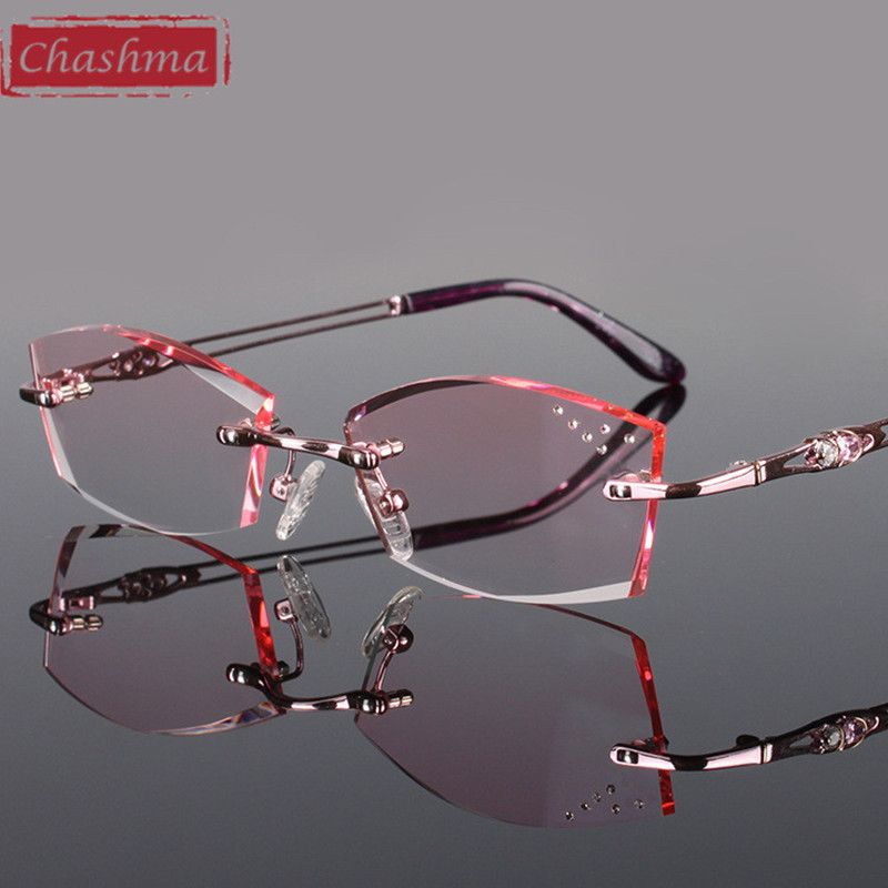 c7ef6195da84a Chashma Pure Titanium Fashionable Lady Eye Glasses Diamonds Rimless  Spectacle Frames Women