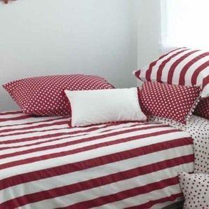 Single Duvet Set = Red Stripe + Red Polka Dot