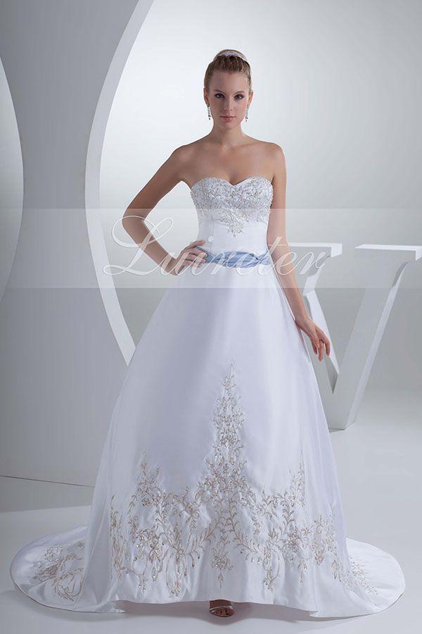 Impressive Ball Gown Chapel Train Sweetheart White Satin Beading Wedding Dress