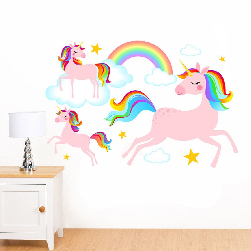 Dreamy Rainbow Unicorns Clouds Stars Mural Wall Sticker