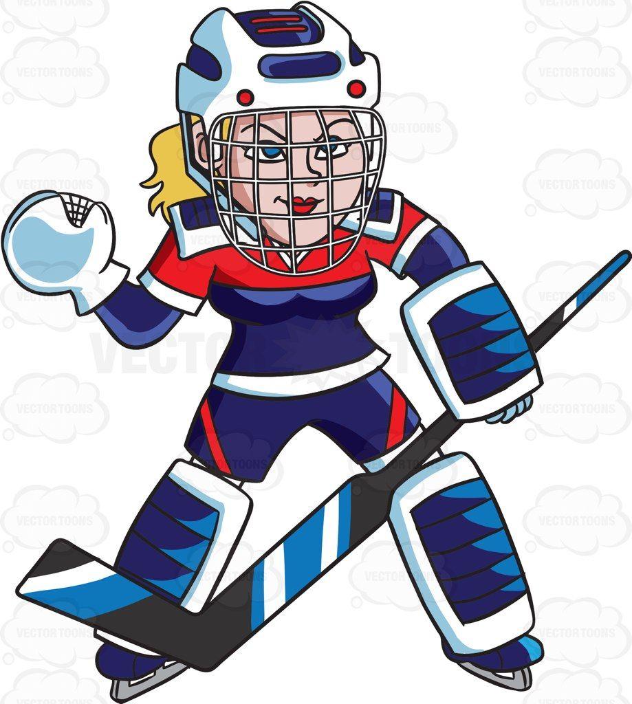 A Female Hockey Goaltender Prepares To Save A Goal Hockey Hockey Helmet Hockey Stick