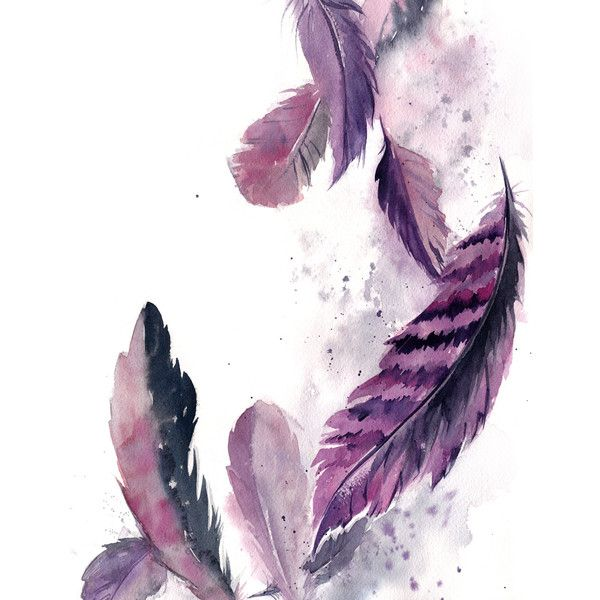 Painting of feathers, ORIGINAL Watercolor Painting, purple grey ...