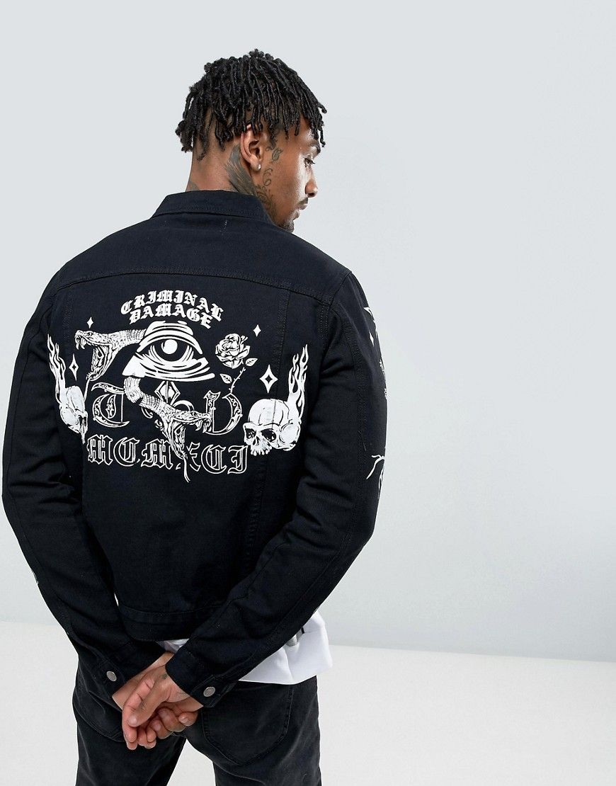 9a2434123 Criminal Damage Denim Jacket With Back Print - Black   Products ...