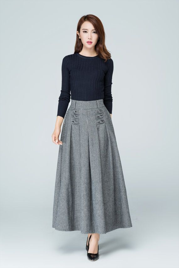 new concept c0443 b7385 wool plaid skirt, wool skirt, maxi skirt, A line skirt ...
