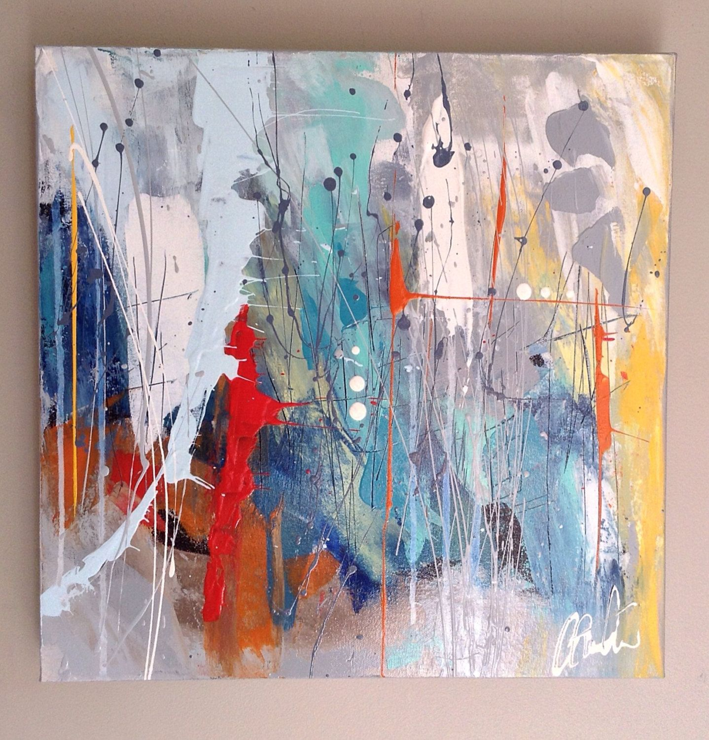 Original Landscape collage Painting on Acid Free paper-abstract Art-Acrylic-Ink-Modern Art