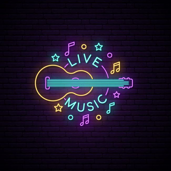 Live Music Guitar Music Notation Led Neon Sign Neon Signs Neon Words Neon Art