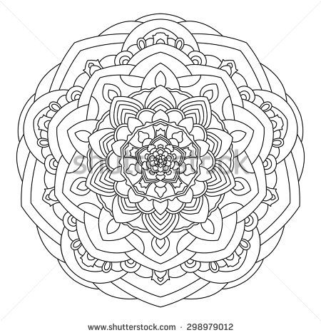 Circular symmetric ethnic pattern. Mandala for coloring. - stock vector