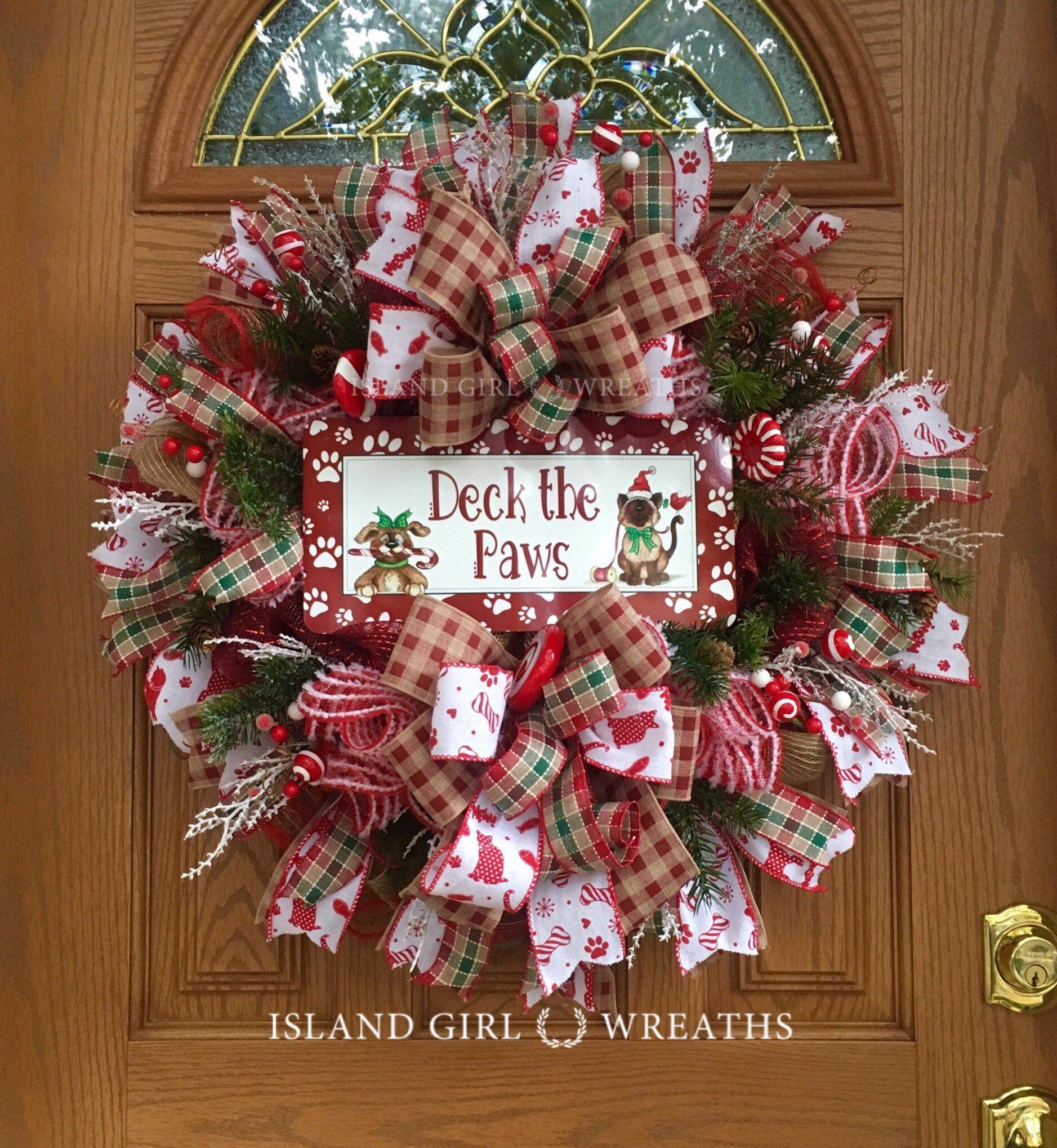 Christmas Kitty Christmas Wreath Burlap Deco Mesh Handmade