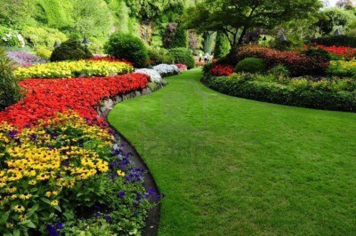 flower beds in formal garden Lawn and landscape
