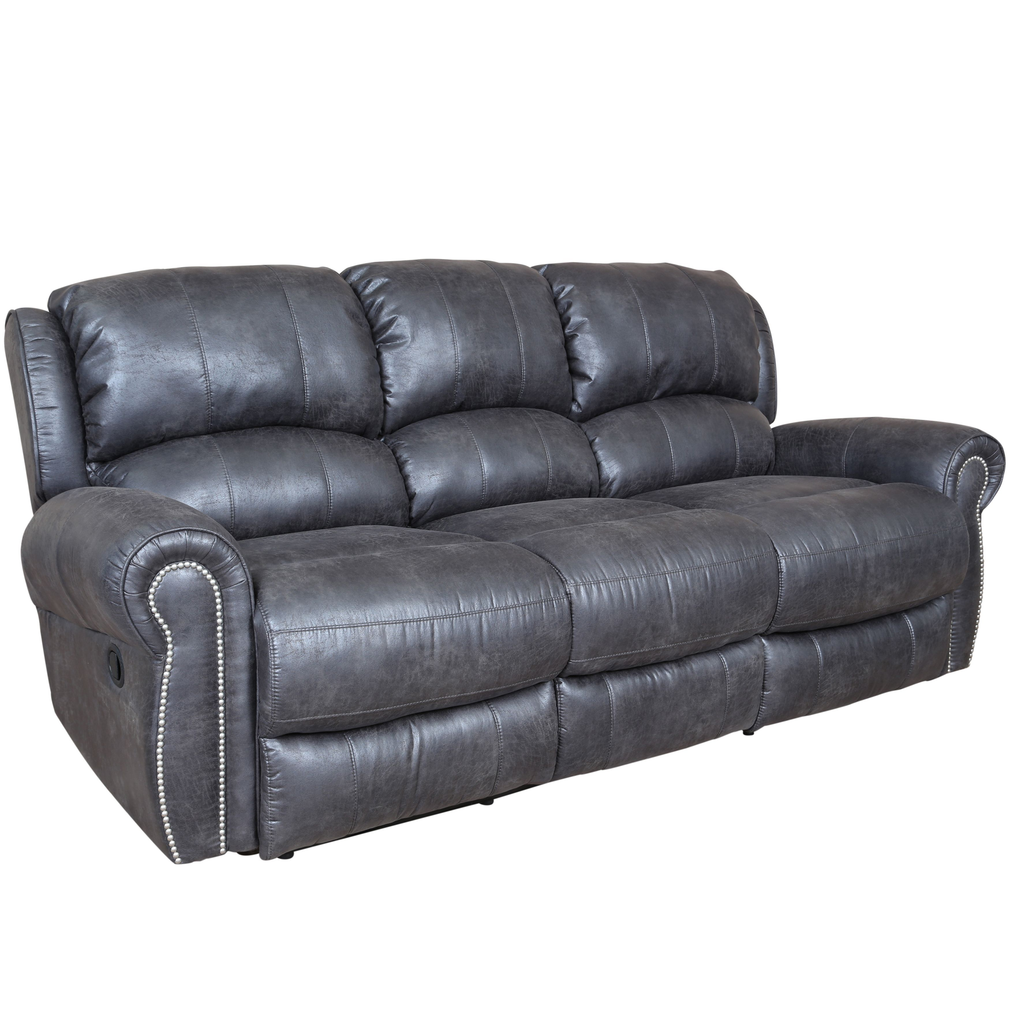 Porter Stirling Slate Grey Dual Reclining Sofa with Breathable