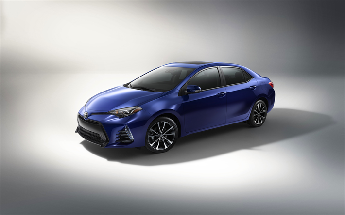 Download Wallpapers Toyota Corolla 2018 Blue Sedan New Blue