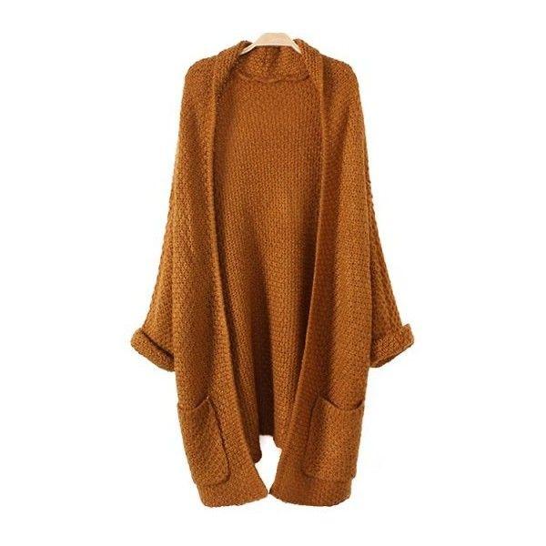 Chunky Cardigan With Pocket KHAKI: Sweaters | ZAFUL ($21) ❤ liked ...
