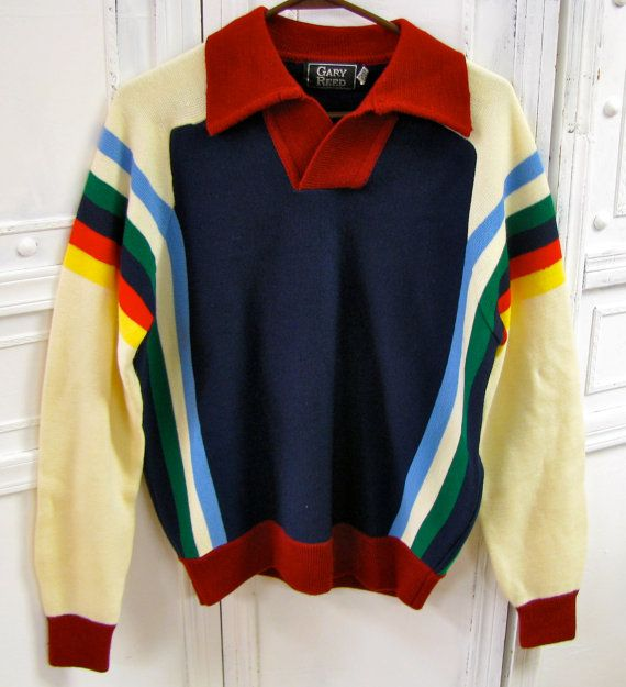 Vintage Mens 1970's Gary Reed Rainbow Striped Pullover by tieyouup, $28.00