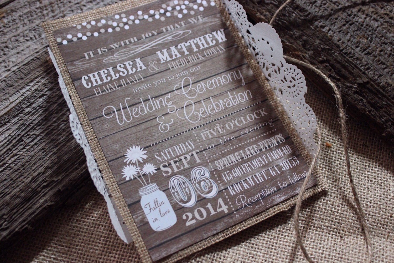 Rustic Wedding Invitation Set Burlap Wedding Invitation Country