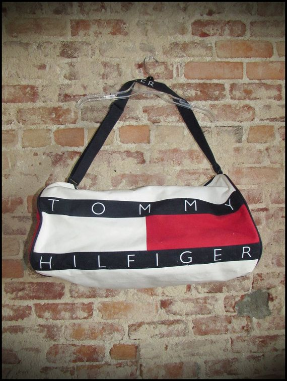 94aabbd6727 Vintage 90 s Tommy Hilfiger Logo Duffle Gym Bag by RackRaidersVintage,   30.00