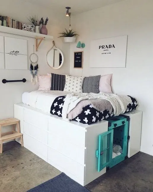 52 Admirable Dorm Room Space Saving Storage Ideas Ikea Storage Bed Ikea Storage Bed Hack Small Room Bedroom