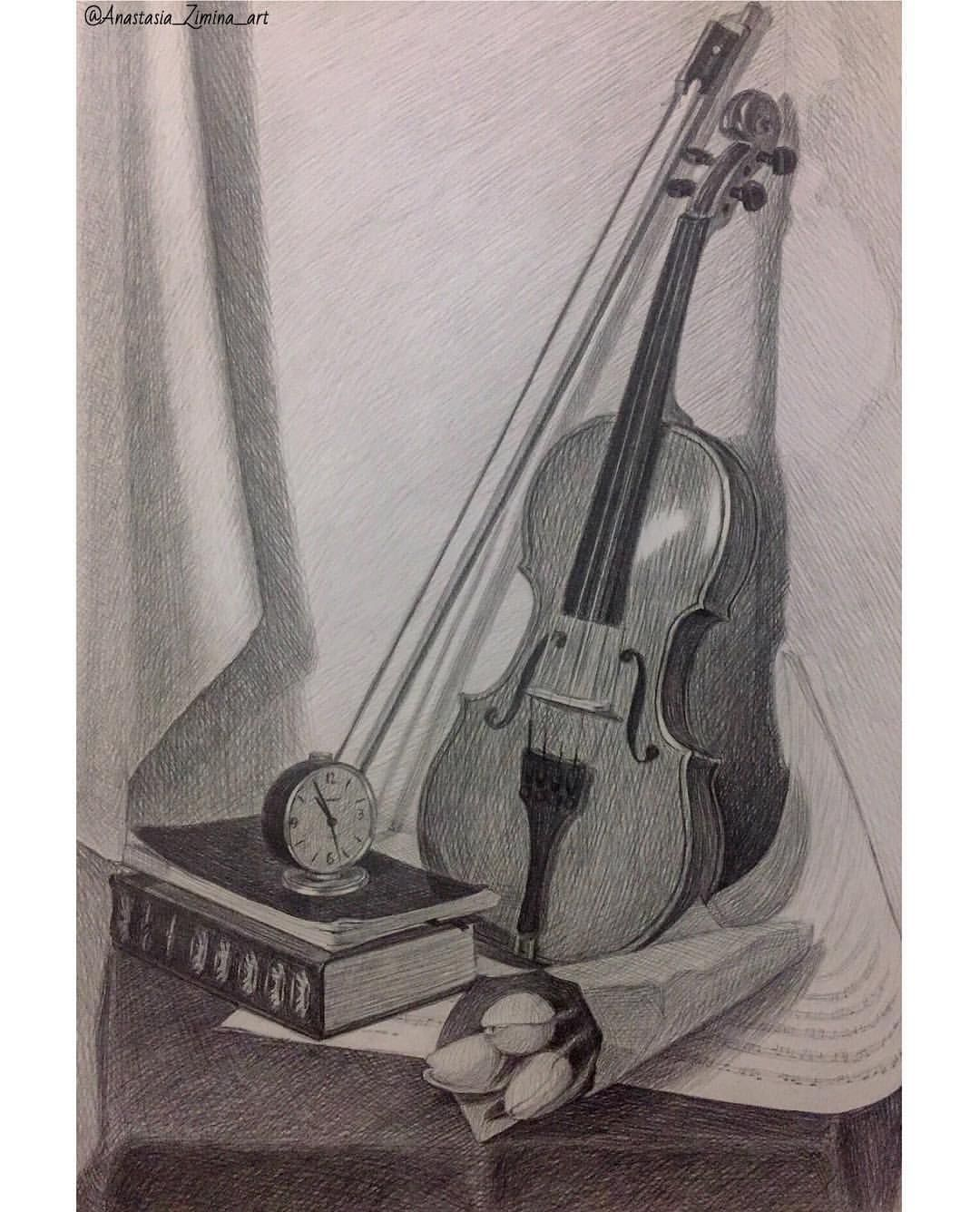 Pencil drawing violin still life by anastasia zimina charcoaldrawing