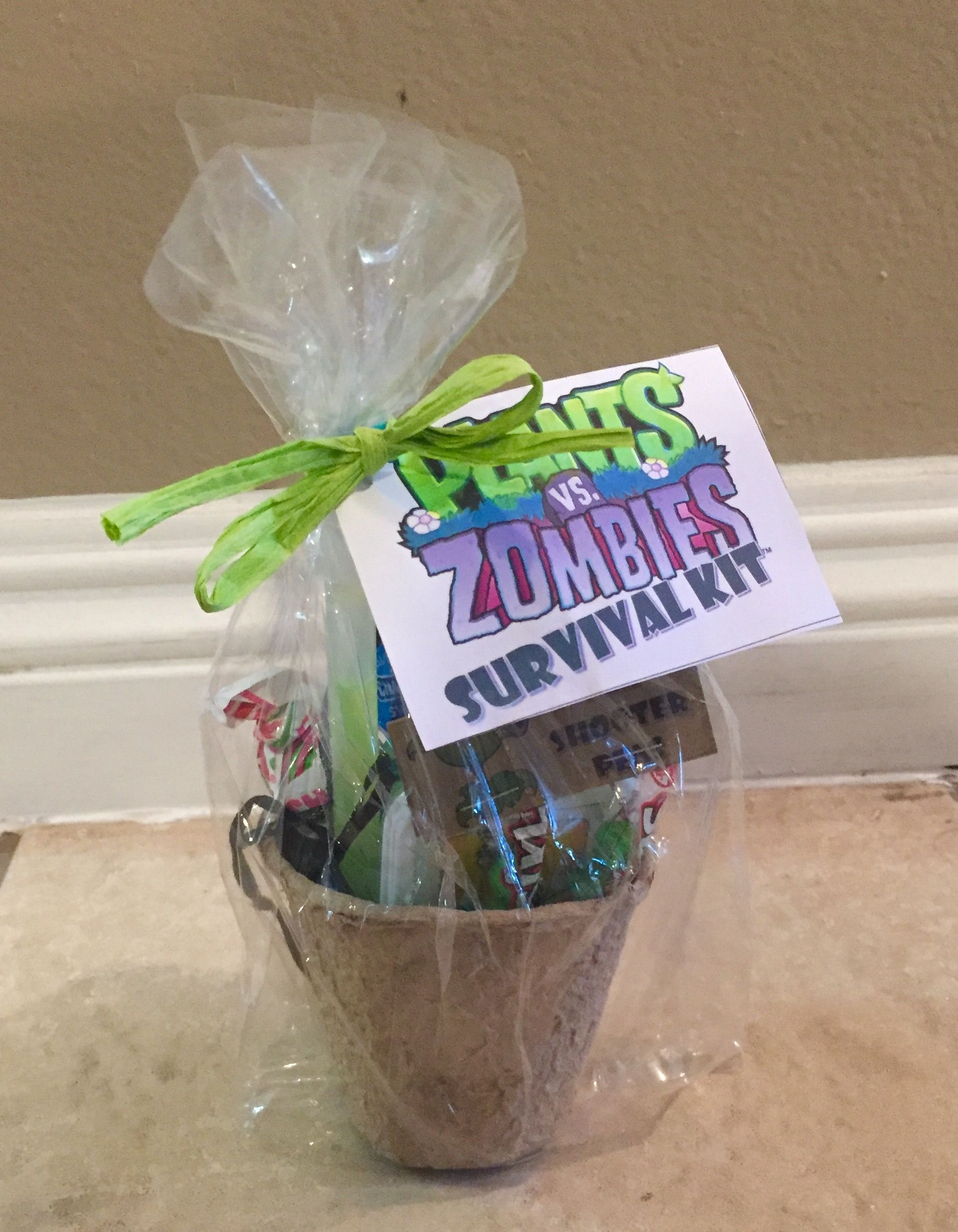 Plants vs. Zombies goody bags some candy, a glow stick
