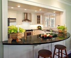 Curved Counter On Living Room Side Kitchen To Dining Room Pass Through Ideas    Google Search