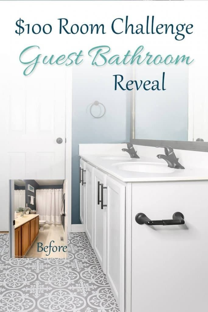 Blue, Gray, & White $100 Guest Bathroom Reveal is here! Bathroom need an upgrade? If you have $100 and some DIY zest, you can makeover your bathroom on a budget!