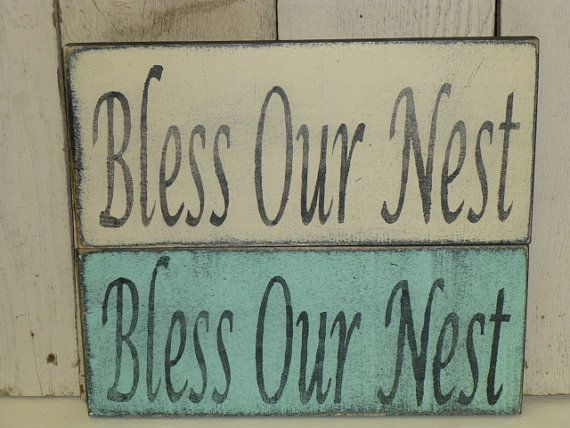 BLESS OUR NEST shabby cottage sign home decor by SophiesCottage
