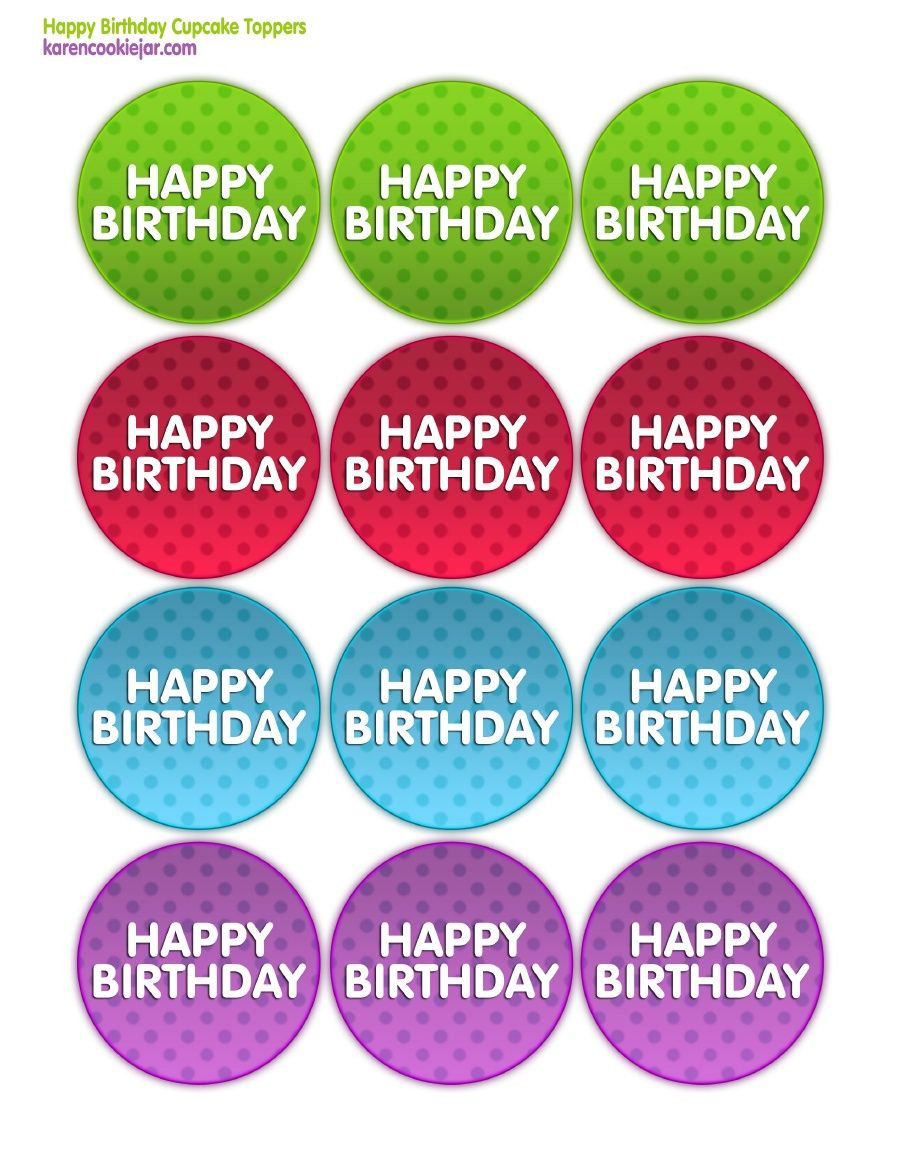 Happy Birthday Printable Cupcake Toppers Bottle Cap Cupcake