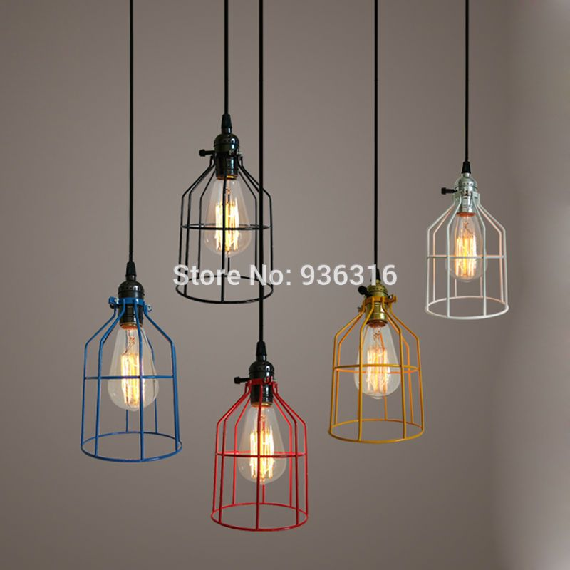 Warehouse metal cage pendant light retro industrial corridor hallway hanging fixtures loft us 13 20