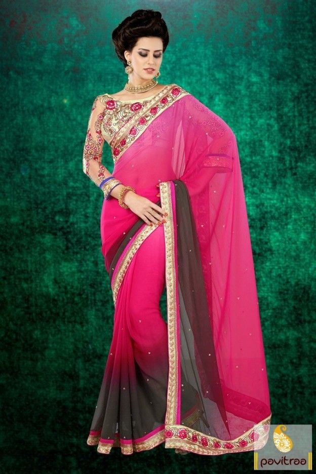 Fantastic grey dark pink chiffon embroidery saree will make you appear very stylish with shaded fabric having stones and pink and golden embroidered patch work.  #pavitraa, #sarees, #designersarees, #partywearsaree, #weddingsarees, #casaulsaree, #bridalsarees, #bollywoodsarees, #printedsarees, #onlinesarees, #onlineshopping, #lehengasarees